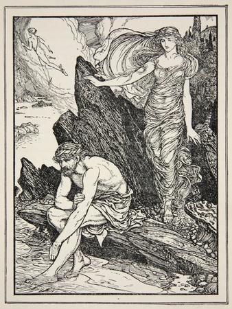 Calypso Takes Pity on Ulysses, from 'Tales of the Greek Seas' by Andrew Lang, 1926
