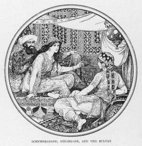 Scheherazade Dinarzade and the Sultan by Henry Justice Ford