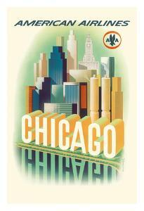 Chicago Skyline - American Airlines by Henry K^ Bencsath
