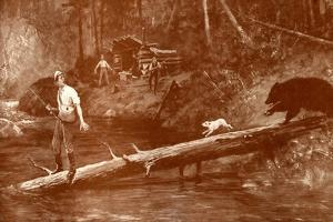 Bear approaches fishermen in the woods by Henry Marriott Paget