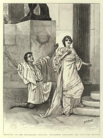 Hypatia at the Haymarket Theatre, Philammon Declaring His Love for Hypatia