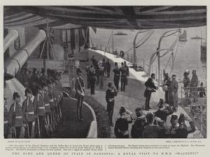 The King and Queen of Italy in Sardinia, a Royal Visit to HMS Majestic by Henry Marriott Paget