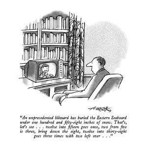 """""""An unprecedented blizzard has buried the Eastern Seaboard under one hundr?"""" - New Yorker Cartoon by Henry Martin"""