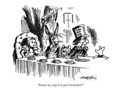 """Excuse me, may I see your invitation?"" - New Yorker Cartoon by Henry Martin"