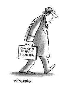"Man with briefcase that -reads, ""Edward T. Peabody since 1921."" - New Yorker Cartoon by Henry Martin"