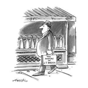 """Picture of man walking down the street; his briefcase reads,""""The Papers of?"""" - New Yorker Cartoon by Henry Martin"""
