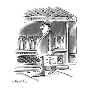 "Picture of man walking down the street; his briefcase reads,""The Papers of?"" - New Yorker Cartoon by Henry Martin"