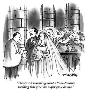 """There's still something about a Yalie-Smithie wedding that gives me major…"" - New Yorker Cartoon by Henry Martin"