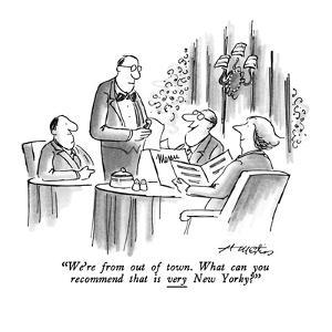 """""""We're from out of town.  What can you recommend that is very New Yorky?"""" - New Yorker Cartoon by Henry Martin"""