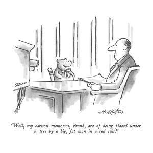 """""""Well, my earliest memories, Frank, are of being placed under a tree by a ?"""" - New Yorker Cartoon by Henry Martin"""