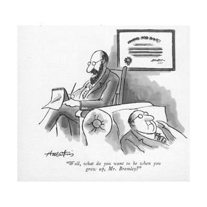 """""""Well, what do you want to be when you grow up, Mr. Bromley?"""" - New Yorker Cartoon by Henry Martin"""