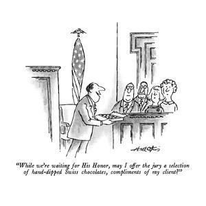"""While we're waiting for His Honor, may I offer the jury a selection of ha?"" - New Yorker Cartoon by Henry Martin"