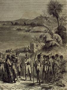 Henry Morton Stanley (1841-1904) and David Livingstone (1813-1873) on Lake Ngami.