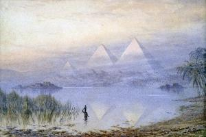 The Pyramids During the Nile Flood, Egypt, 1888 by Henry Noel Shore
