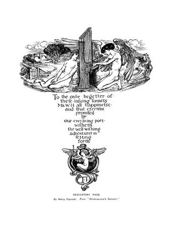 Dedicatory Page from Shakespeare's Sonnets, 1899