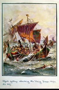Alfred's Galleys Attacking the Viking Dragon Ships, 897 Ad by Henry Payne