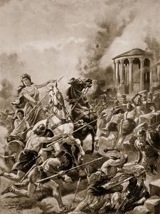 Boadicea's Attack Upon Camulodunum, 60Ad, Illustration from 'The History of the Nation' by Henry Payne
