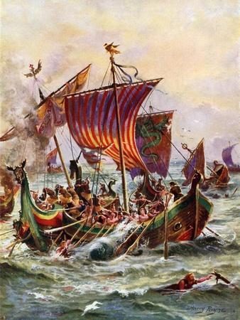 King Alfred's Galleys Attacking the Viking Dragon Ships, 897