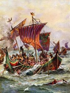 King Alfred's Galleys Attacking the Viking Dragon Ships, 897 by Henry Payne