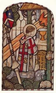 'Sir Galahad. Design for a window at Kelvin-Side, Glasgow', c1914. by Henry Payne