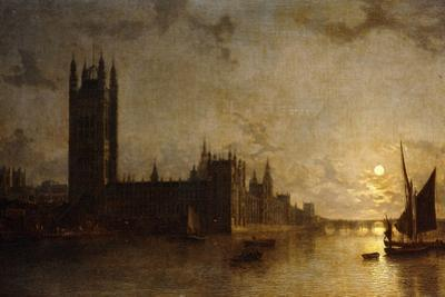 Westminster Abbey, the Houses of Parliament with the Construction of Westminster Bridge, 1859 by Henry Pether