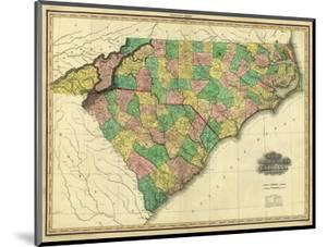 Map of North and South Carolina, c.1823 by Henry S. Tanner
