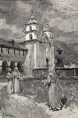 Fountain and Mission, Santa Barbara, California, from 'The Century Illustrated Monthly Magazine',…