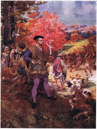 Jacques Cartier and the Redskins, C.1920 by Henry Sandham