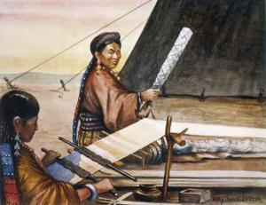 Tibetan Women Weaving by Henry Savage Landor