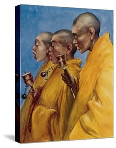 "Tibetan ""Yellow Monks"" Using Prayer Wheels by Henry Savage Landor"