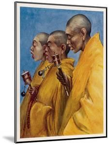 "Tibetan ""Yellow Monks"" Using Prayer Wheels by Henry Savage Landor"