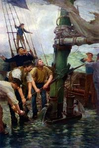 All hands at the pumps!' by Henry S Tuke by Henry Scott Tuke