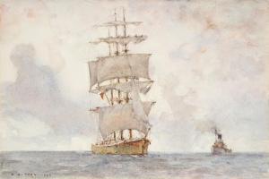 Barque and Tug, 1922 by Henry Scott Tuke