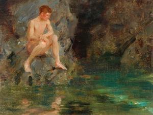 Portrait of David Bone - Cornwall, 1913 by Henry Scott Tuke