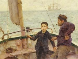 The Steering Lesson by Henry Scott Tuke