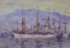 Three Masters Falmouth by Henry Scott Tuke