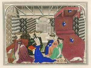 Christine de Pisan, Presenting Her Book to the Queen of France, Early 15th Century by Henry Shaw