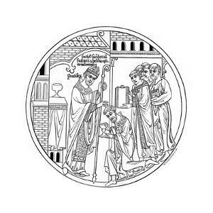Hedda of Winchester Consecrates St Guthlac, Late 12th Century by Henry Shaw