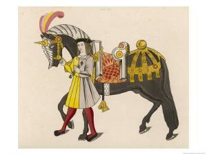Horse Caparisoned (Dressed in Elaborate Harness Equipment) in Preparation for a Tournament by Henry Shaw