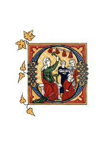 Initial Letter O, 14th Century by Henry Shaw
