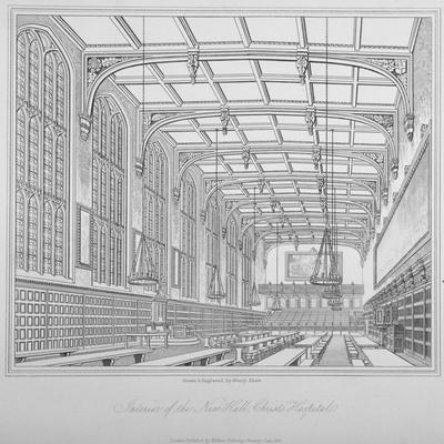 Interior View of the Hall, Christ's Hospital, City of London, 1833