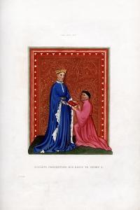 Occleve Presenting His Book to Henry V, C1410 by Henry Shaw