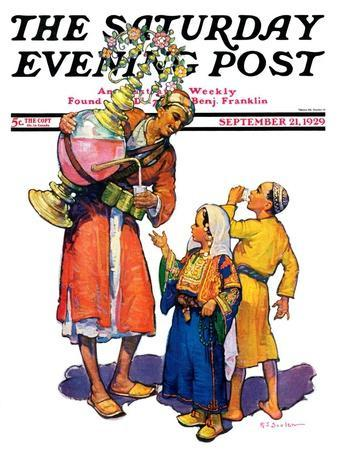 """Arab Vendor and Children,"" Saturday Evening Post Cover, September 21, 1929"