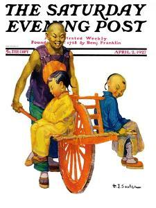 """""""Chinese Family,"""" Saturday Evening Post Cover, April 2, 1927 by Henry Soulen"""