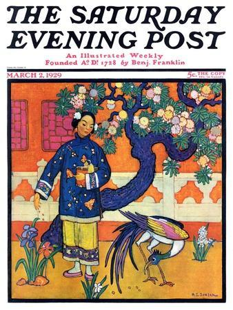 """""""Japanese Woman in Garden,"""" Saturday Evening Post Cover, March 2, 1929"""