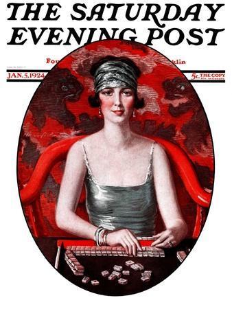 """Majong,"" Saturday Evening Post Cover, January 5, 1924"