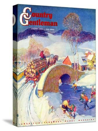 """""""Winter in the Village,"""" Country Gentleman Cover, January 1, 1944"""