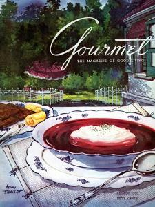 Gourmet Cover - August 1953 by Henry Stahlhut