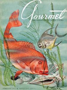 Gourmet Cover - February 1951 by Henry Stahlhut