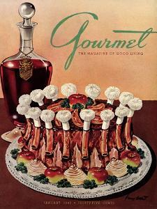 Gourmet Cover - January 1949 by Henry Stahlhut